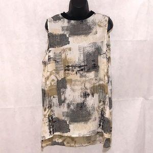 Bobeau Mock Neck Sleeveless Blouse Size XL—E1
